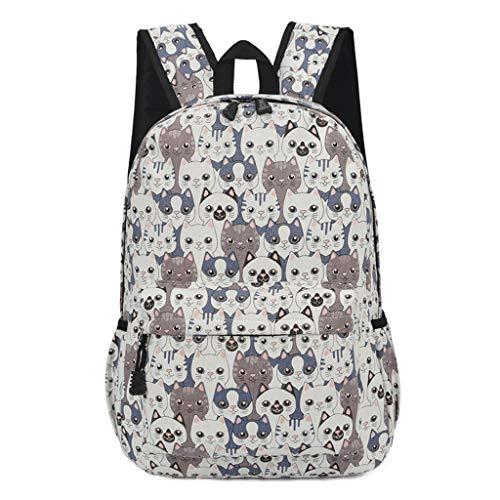 Print 04 Rucksack Cute Backpack College Tyjie Cat Canvas School Women Travel Bag Girls aqYWRp