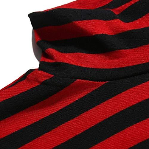 Alto Hombre Larga Jersey La Cuello Esencial Rayas Sudadera Manga Camiseta Hombres A Camisas De Tops Otoño Rot Moda Invierno Para AIwERUnZqx