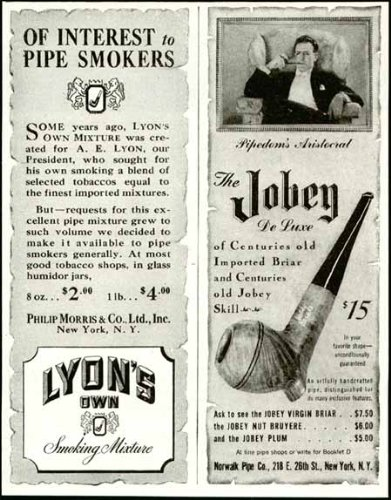 1945 Advertisements for Lyons Pipe Tobacco Mixture & Jobey Pipes Original Paper Ephemera Authentic Vintage Print Magazine Ad/Article ()