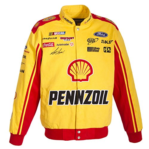Jacket Twill Red Nascar - J.H. Design Joey Logano Pennzoil NASCAR Jacket Size XLarge