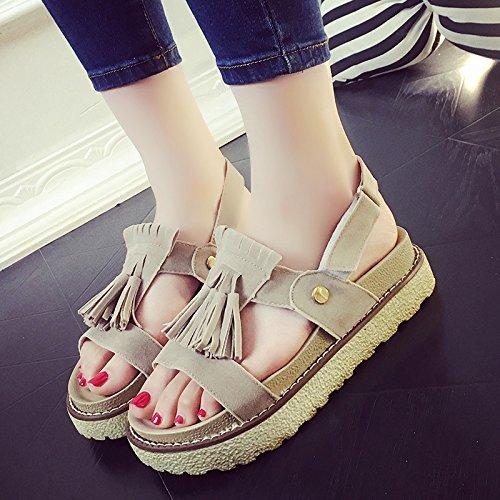 RUGAI-UE Sandalias de verano plana gruesa zapatos cómodos slip Beige
