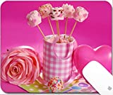 valentines day fondue - Luxlady Natural Rubber Gaming Mousepads pink marshmallow pops with heart shape and pearl sprinkles in cup for valentine 9.25in X 7.25in IMAGE: 25773268