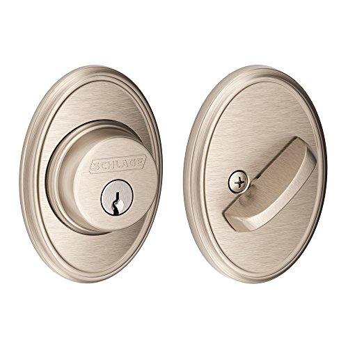 (Schlage Lock Company Single Cylinder Deadbolt with Wakefield Trim, Satin Nickel (B60 N WKF 619))