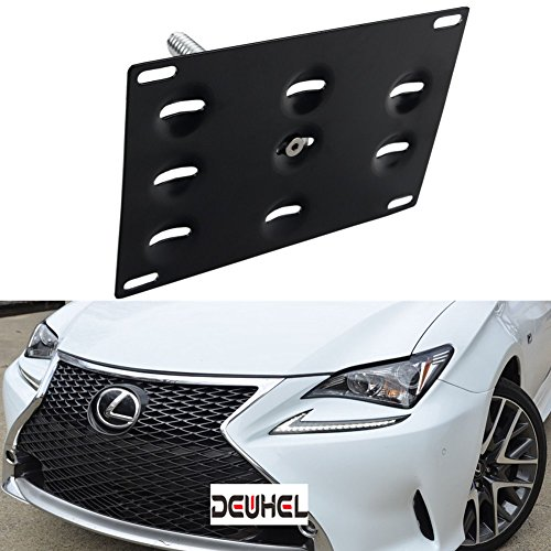 DEWHEL Front Bumper Tow Hook License Plate Mount Bracket Holder Bolt On for Lexus RC RC-F GS LS ES RX