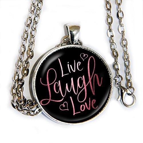 Live Laugh Love inspirational quote - pink/black - pendant necklace - HM -