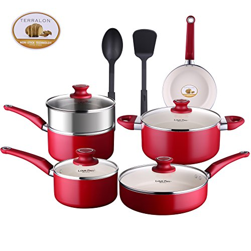 (COOKSMARK Pots and Pans Set White Ceramic Coating Nonstick Aluminum Cookware Set With glass lids and Nylon Utensils Sauce Pan with Steamer Dishwasher Safe PTFE PFOA Free 12-PCS, Red)