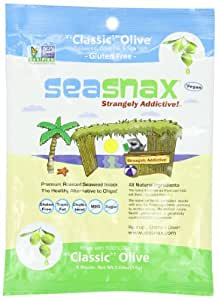 SeaSnax Roasted Olive Seaweed 5 Sheets, .54-Ounce (Pack of 4)