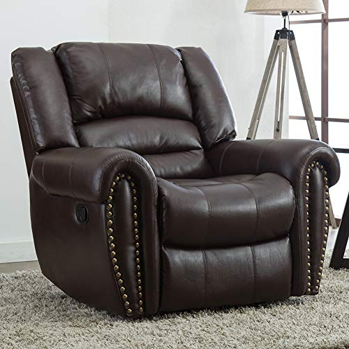 Oversized Leather Cover Recliner Nailhead Lounge Chair for Living Room- Brown