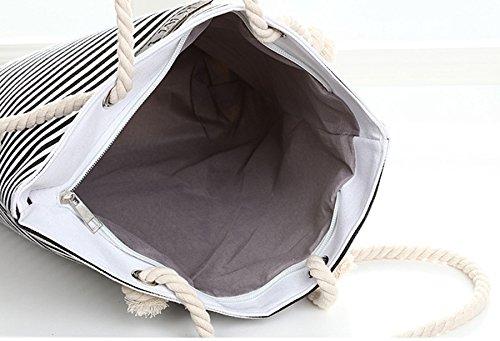 Cadeau Corde Avec main Rayé Idée Canvas Blanc Femme Sac Marron Voyage Poignées Fille à W8YnqHP7