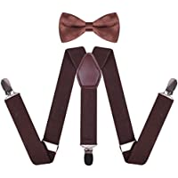 WDSKY Toddler Boys' Men's Bow Tie and Suspenders Set Y Back Adjustable
