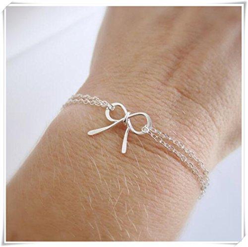 Cravate le Noeud Nœud avec nœud en argent Bracelet, bracelet, cadeau de demoiselle d'honneur,
