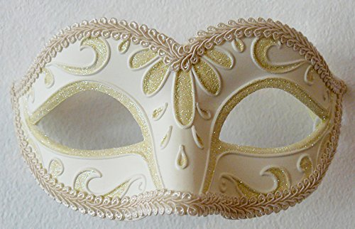Ivory White Luxury Venetian Classic Masquerade Mask - Carnival Halloween Burlesque (Classic Burlesque Costumes)