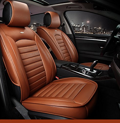 Oroyal Universal Fit Car Seat Cover Set Top Grade PU Leather Luxurious Design (Universal Fit For Most Cars, SUV, Trucks or Vans) (Brown) (Toyota Rav 4 2014 Seat Covers compare prices)