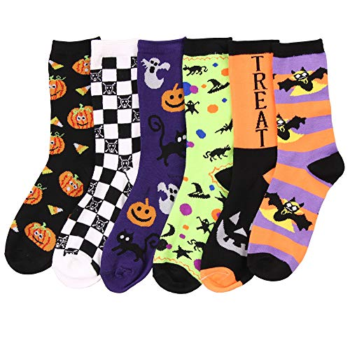 Womens Fun Colorful Crew Sock 6 Packs (Halloween (Pack 1)), One -