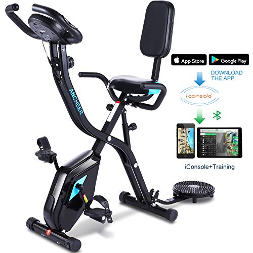 ANCHEER Exercise Slim Folding Bike,3 in1 Stationary Cycle Indoor Recumbent Bike,Compact Magnetic Upright for Home with App Program&Twister Plate&10 Level Adjustable Resistance&Monitor. (Black)