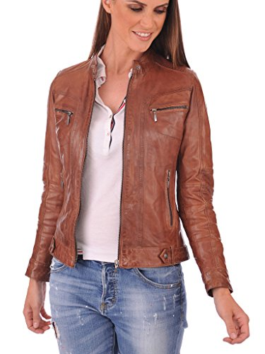 FS Lambskin Leather Women's Bomber Biker Jacket XX-Large Brown by Fashion Store