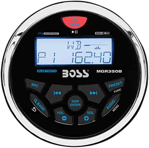 BOSS Audio MGR350B in-Dash, Marine Gauge, Bluetooth, Digital Media MP3 / WMA/USB / AM/FM Weather-Proof Marine Stereo, (No CD Player)