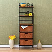 Milano 3-Drawer Bakers Rack, Black and Brown