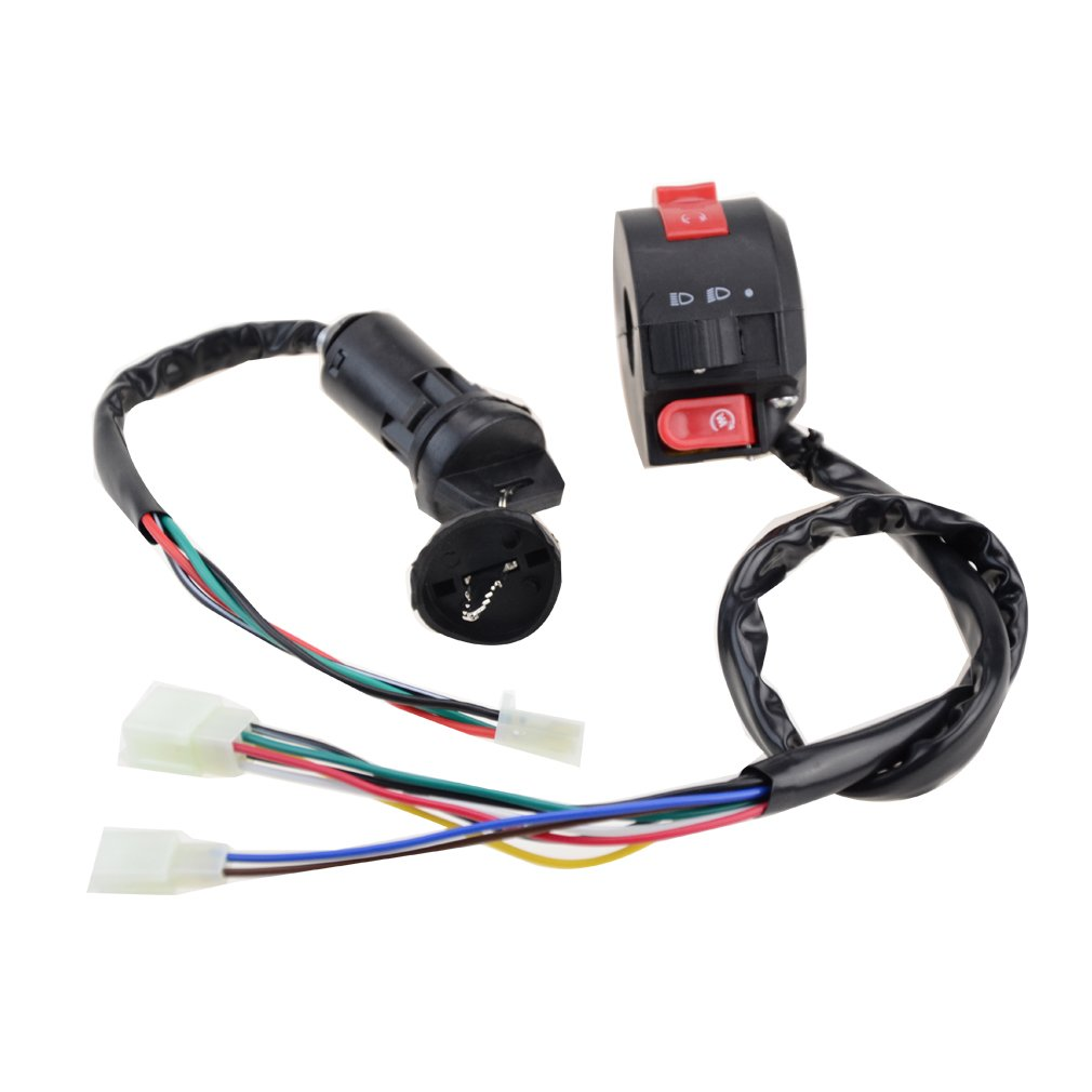 GOOFIT Motorcycle Handlebar Kill Switches with Key Ignition for 50cc 70cc 90cc 110cc 125cc ATV Scooter Quad Group-103