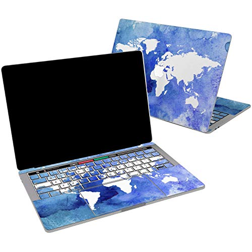Lex Altern Vinyl Skin for MacBook Air 13 inch Mac Pro 15 Retina 12 11 2019 2018 2017 2016 2015 Amazing Watercolor World Map Blue Pattern Men Girl Laptop Trackpad Cover Keyboard Decal Sticker Women