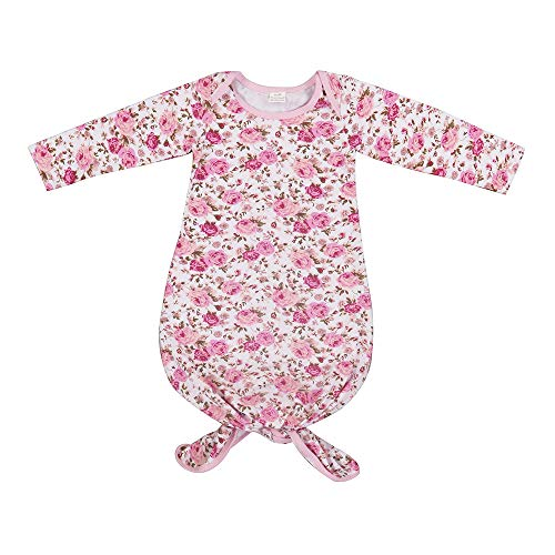 BubbleColor Baby Sleeper Gown Floral Striped Knotted Nightgowns Baby Soft Organic Cotton Sleep Gown Sleepwear Pajamas for Infant Toddler Girl and Boy (Pink Flower, S:0-6 Months)