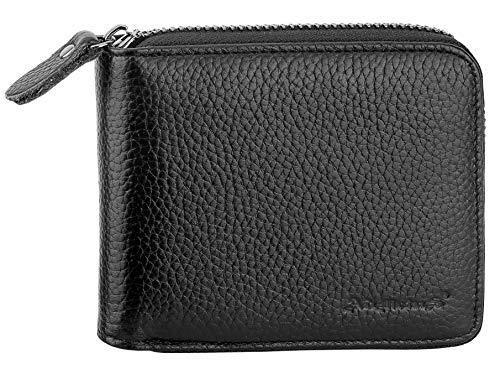 Mens Wallets Leather Zipper Wallet for Men Bifold RFID Multi Card Holder Purse black2258