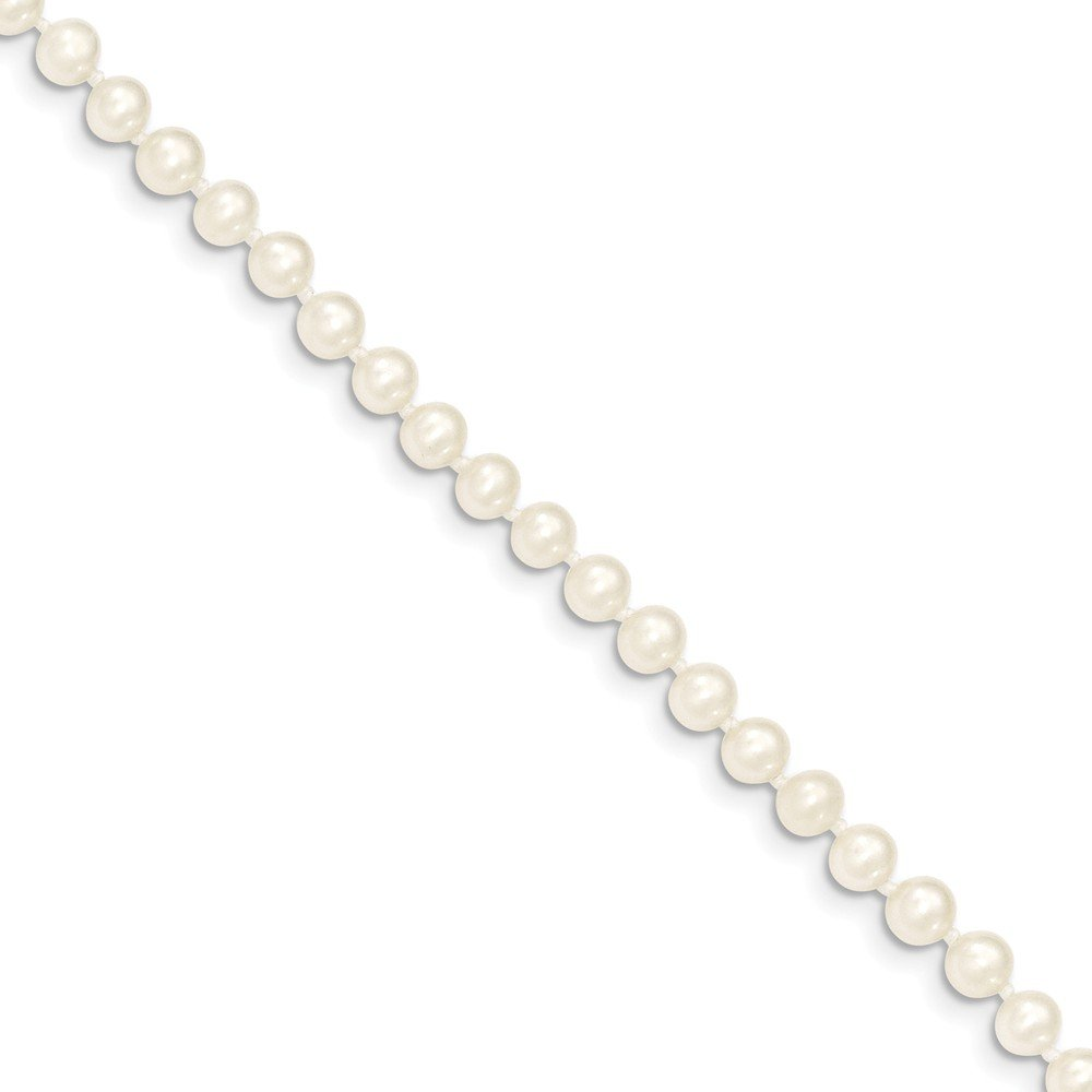 Roy Rose Jewelry 14K Yellow Gold 4-5mm White Freshwater Cultured Near Round Pearl Necklace ~ length: 18 inches