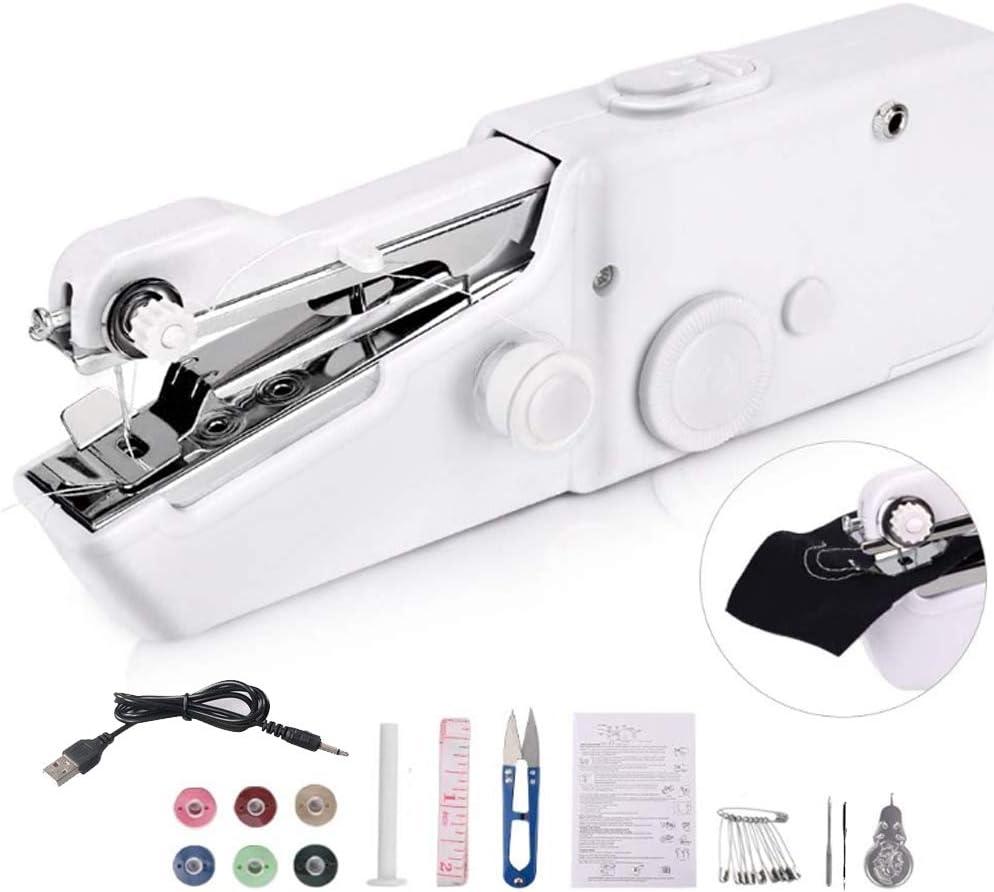 Mini Portátil Máquina de Coser de Mano Eléctrica Inalámbrica para Niños Principiantes Costura Doméstica o de Viaje, Reparaciones Fáciles y Rápidas para Todo Tipo de Telas (naranja, USB Cable)