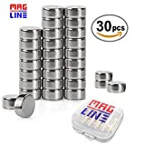 Small Round Magnets for Refrigerator, Fridge Magnets Set, Button Magnets Whiteboard, Map Magnets or Other Office Tools, 30Pcs Little Stainless Steel Craft Arts Magnet-Tiny Round Disc