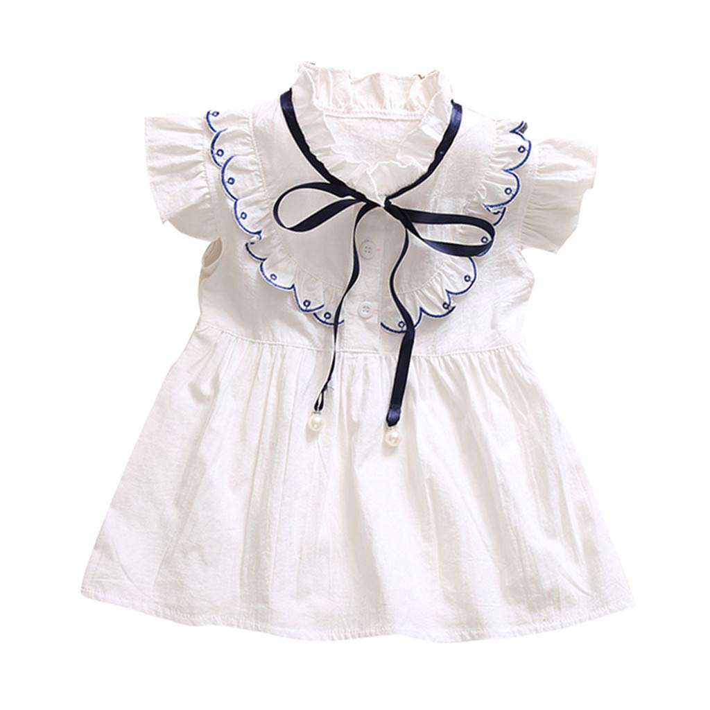 3bf11794b31 Amazon.com  Toddler Little Baby Girls A-Line Dresses - Elegant Cute Ruffle  Shorts Sleeve Bow Front Dress - Summer Solid Color Dress (18-24 Months