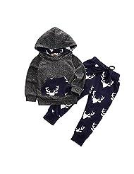 TOWEAR Toddler Infant Baby Boys Deer Long Sleeve Hoodie Tops Sweatsuit Pants ...