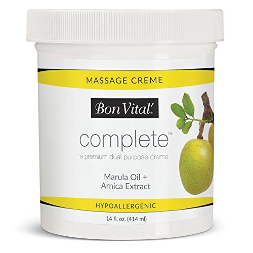Bon Vital Complete Massage Creme, Premium Dual Purpose Cream for Hypoallergenic Professional Massages, Non Greasy Unscented Moisturizer Made with Marula, Olive, Avocado, Jojoba Oil, 14 oz. Jar