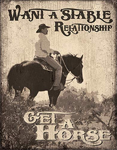 """Desperate Enterprises Want A Stable Relationship - Get A Horse Tin Sign, 12.5"""" W x 16"""" H"""