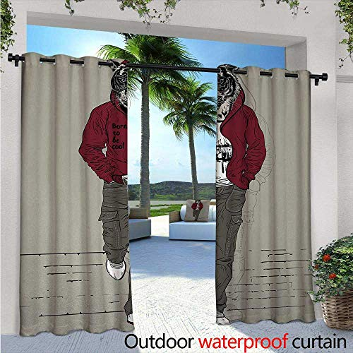 Modern Indoor/Outdoor Single Panel Print Window Curtain W72 x L108 Hipster Tiger in Sportswear Taking a Walk Adaptation to Urban City Theme Silver Grommet Top Drape Ruby Sage Green Black