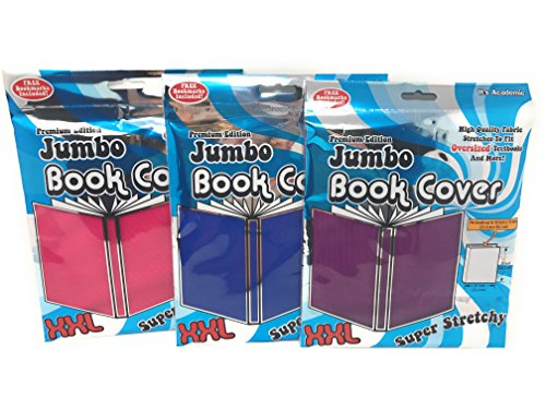 Jumbo Book Covers (3) - Premium Edition (Pink, Purple and Blue) (Covers Book Stretch)
