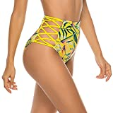 COLO Women Sexy Bikini Bottoms Lace Strappy Sides High Waisted Retro Bathing Suit Underwear Swimsuit XL