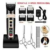 Dog Grooming Clippers 3-Speed Professional Rechargeable Cordless Electric Pet Clippers&Hair trimmer Tool Kit/Set for Thick Coats Dogs/Cats/Horses with LED Screen Indication Intelligent Protection