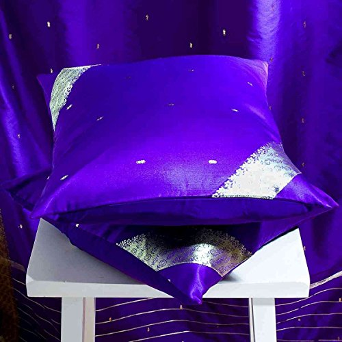 (Purple - Set of 2 Decorative handcrafted Sari Cushion Cover, Throw Pillow Case 18