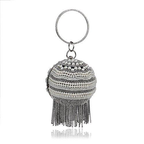 catena argento Night nero strass Bag di perle Party Donna Bag Personalità Rrock Luxury Moda Banchetto nappa Shoulder Ball R7agwfq