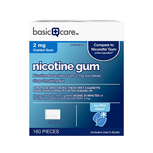 Basic Care Nicotine Gum, 2mg, Ice Mint Flavor, 160 Count - Nicotine Replacement