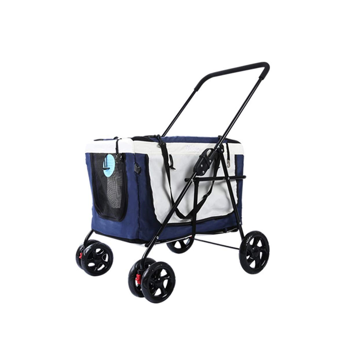 bluee WLDD Four Wheel Pet Stroller, 3-in-1 Soft ,Sided Detachable Pet Carrier Travel Crate and Pet Stroller Bearing 20KG (color   bluee)