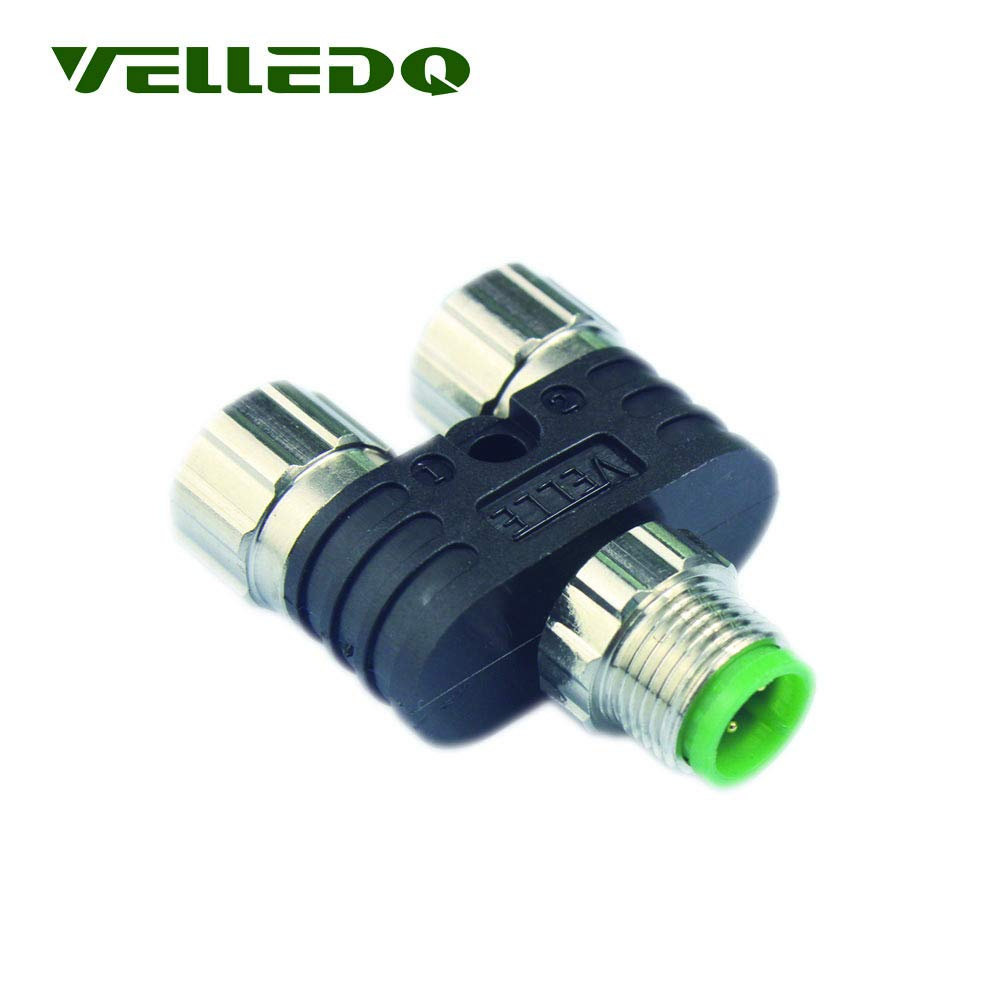VELLEDQ Industrial Field-wireable M12 Y Type Splitter 4-Pin Male to 3-Pin Female A-Coding Circular Connector M12-2M12