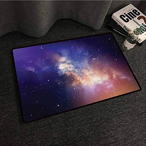 SONGDAYONE Polyester Door mat Space Stars in Sky Supernova Comet Constellation Light Years Meteor Planetary Image Avoid Slipping to Dark Blue Purple,W19 xL31]()
