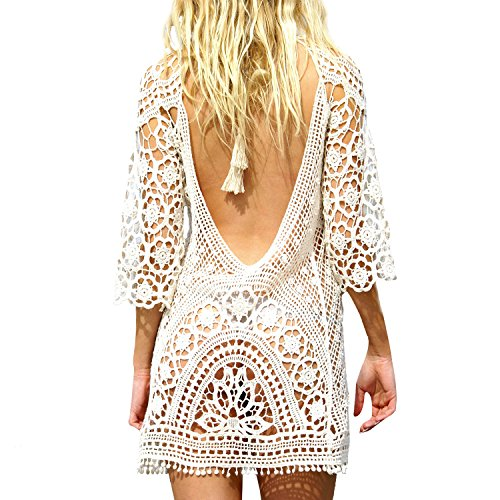 White Beach Cover Up Lace Bikini Cover Up Bathing Suit Cover White Crochet (Halter Dress Cover)