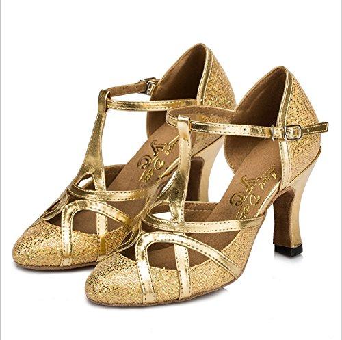 Mary Haut 35 Femmes Gold Toe Bracelet En Jane Chaussures Tmkoo Taille Talons Latin Dance Bas Éclair Color T De Danse Fermé amp; Argent Doux BtqgBxZwY