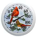 Springfield Snowy Cardinal Low Profile Patio Thermometer (13.25-Inch)