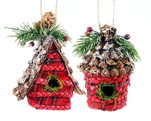 Woodland Pinecone Birdhouse Hanging Christmas Ornaments - Set of 2 Woodsy Christmas