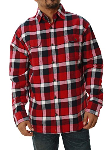 JACHS Men's Brawny Plaid Button Down Long Sleeve Woven Flannel Shirt - Red (X-Large) ()