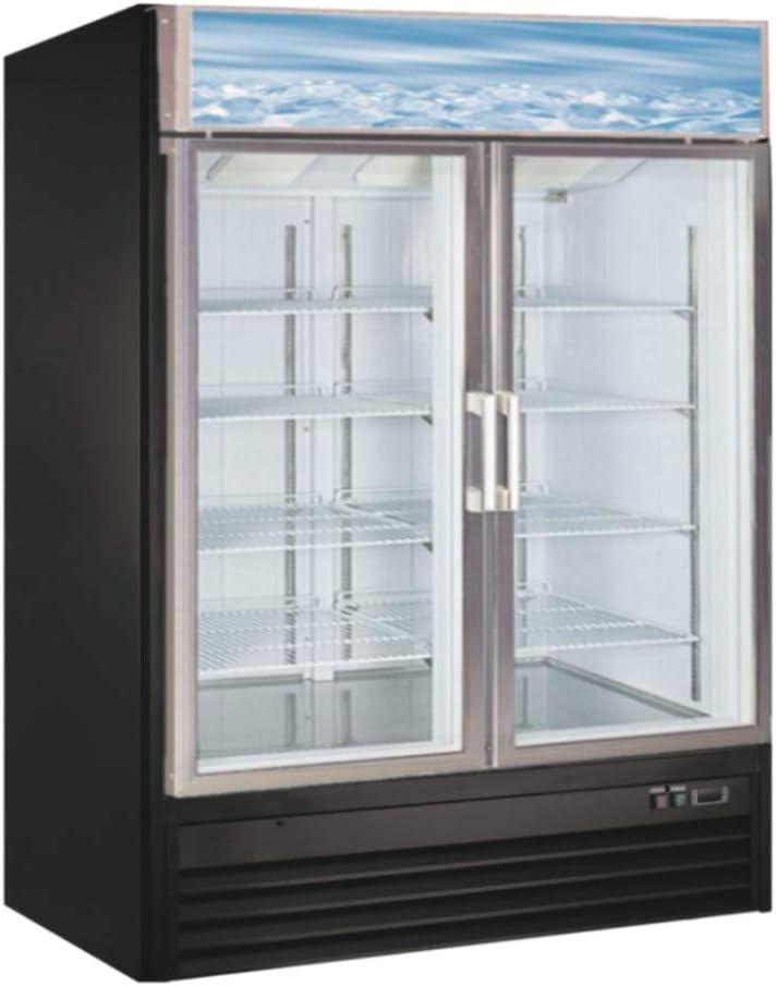 Large Capacity Glass Front Double Door Display Cooler - Merchandiser Refrigerator- 45 Cu Ft