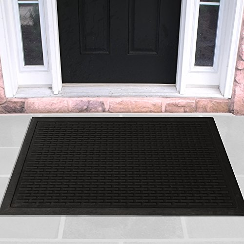 (Ottomanson Rubber Doormat Entrance Rug Indoor/Outdoor Door Shoe Scraper Entryway,Garage and Laundry Room Floor Mat, Weather-Resistant, 24